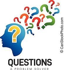 Brain Head, Questions Problem Solver. Vector Logo Symbol