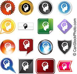 Brain Head Variety Set - Brain head variety set isolated on...