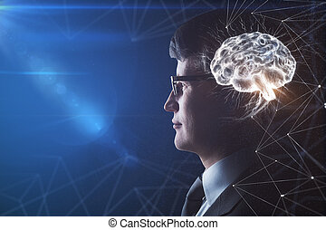 Brain headed businessman