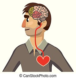 brain-heart, 肖像画, 接続, profile., 人