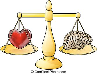 Brain Heart Scales Concept - A heart and brain symbols on a...