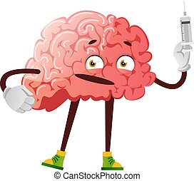 Brain holding a injection, illustration, vector on white background.