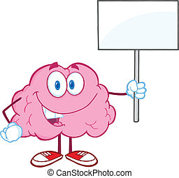 Brain Holding Up A Blank Sign