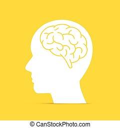 brain., hoofd, silhouette