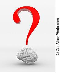 Brain - Human brain and a question mark. 3d render...