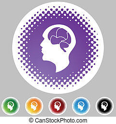 Brain Icon - Brain icon web button isolated on a background.
