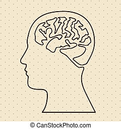 brain icon - brain silhouette over dotted background vector ...