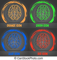 Brain icon. Fashionable modern style. In the orange, green, blue, red design. Vector