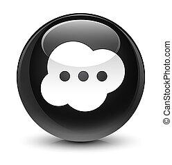 Brain icon glassy black round button