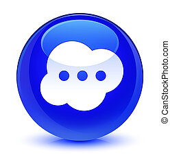 Brain icon glassy blue round button