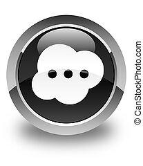 Brain icon glossy black round button