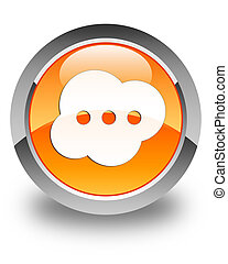 Brain icon glossy orange round button