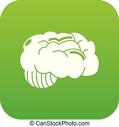 Brain icon green vector