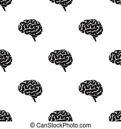 Brain icon in black style isolated on white background. ...
