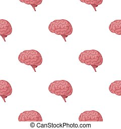 Brain icon in cartoon style isolated on white background. ...