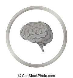 Brain icon in monochrome style isolated on white background...