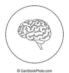 Brain icon in outline style isolated on white background. ...
