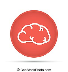 Brain icon on a circle on a white background. Vector illustration