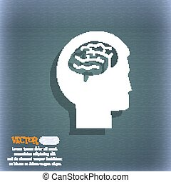 Brain icon. On the blue-green abstract background with shadow and space for your text. Vector
