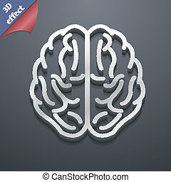 Brain icon symbol. 3D style. Trendy, modern design with space for your text Vector