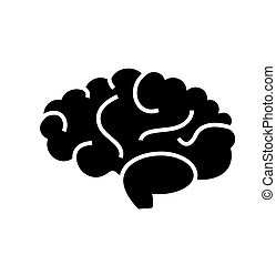 brain icon, vector illustration, black sign on isolated background