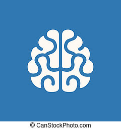 Brain Icon. Vector on Blue Background