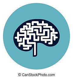 Brain Icon Web Button Isolated On Blue Round Background