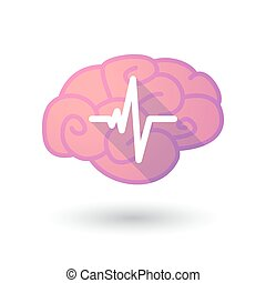 Brain icon with a heart beat sign