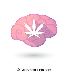 Brain icon with a marijuana leaf