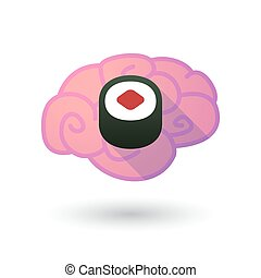 Brain icon with a sushi