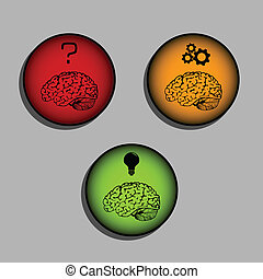 Brain icons - process of thinking and idea creation -...