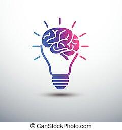 Brain idea - Creative brain Idea concept with light bulb...