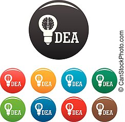 Brain idea icons set color