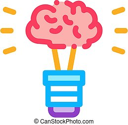 Brain Idea Lamp Icon Vector Outline Illustration