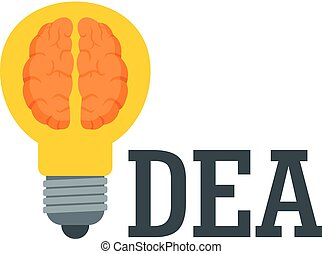 Brain idea logo, flat style