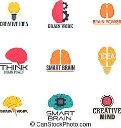 Brain idea logo set, flat style