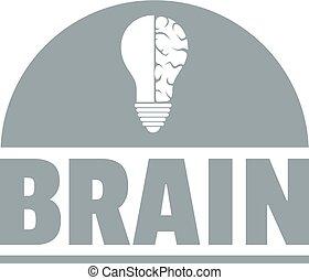 Brain idea logo, simple gray style