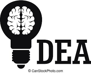 Brain idea logo, simple style