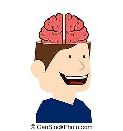 brain idea man cartoon design