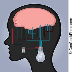 Brain illustration - An illustration with human head and...