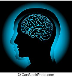 Brain - Profile of human head with visible brain. Vector
