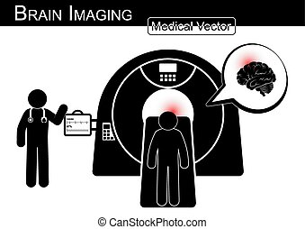 Brain Imaging .  Patient lie on CT scanner for diagnosis of brain disease ( Hemorrhagic or Ischemic stroke , Brain tumor , Brain abscess , etc ) ( Black & white / Flat design )( health care concept )