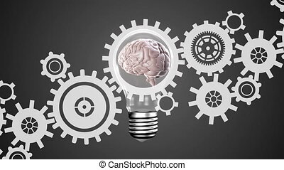 Brain in a light bulb and gears