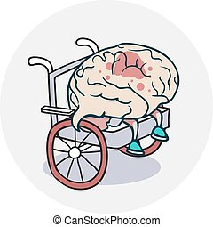 Brain in a wheelchair - Problems with the brain. Icon on ...
