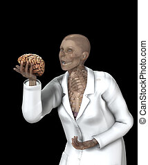 Brain In Hand Of X Rayed Doctor - Human brain in the hand of...