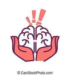 Brain in hands with exclamation mark above isolated on white