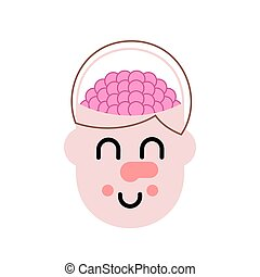 Brain in head. Thinking process. Vector illustration