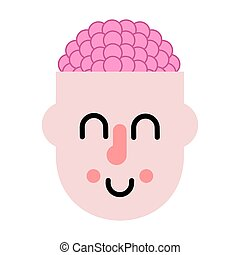 Brain in head. Thinking process. Vector illustration