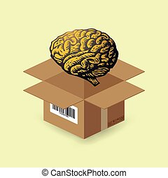 Brain in paper box