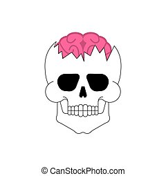 Brain in skull. Broken skeleton head. Vector
